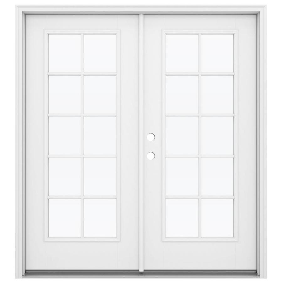 Shop reliabilt 71 5 in x 79 5 in simulated divided light for Fiberglass french patio doors