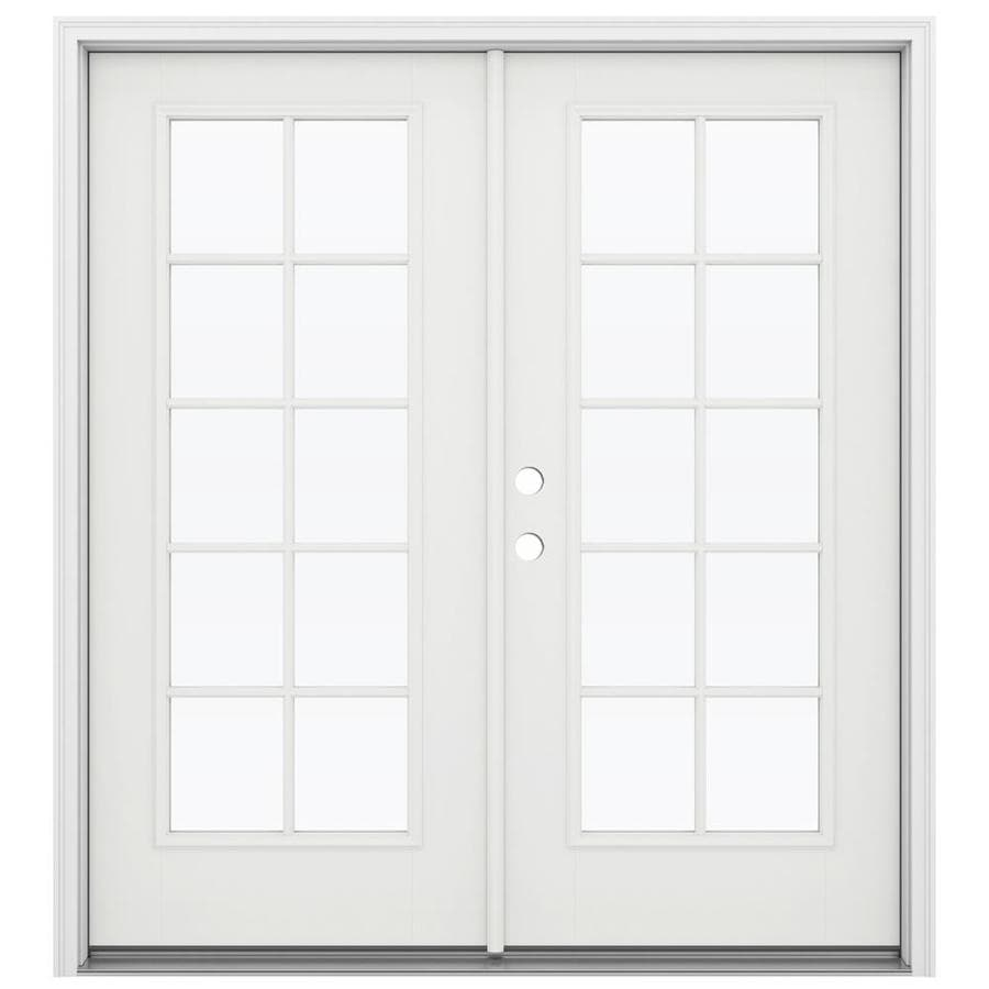 ReliaBilt 71.5-in 10-Lite Glass Arctic White Fiberglass French Inswing Patio Door
