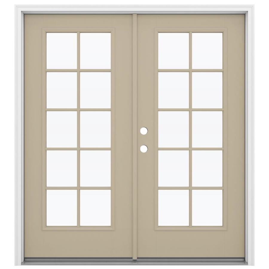 ReliaBilt 71.5-in x 79.5-in Simulated Divided Light Right-Hand Inswing Brown Fiberglass French Patio Door