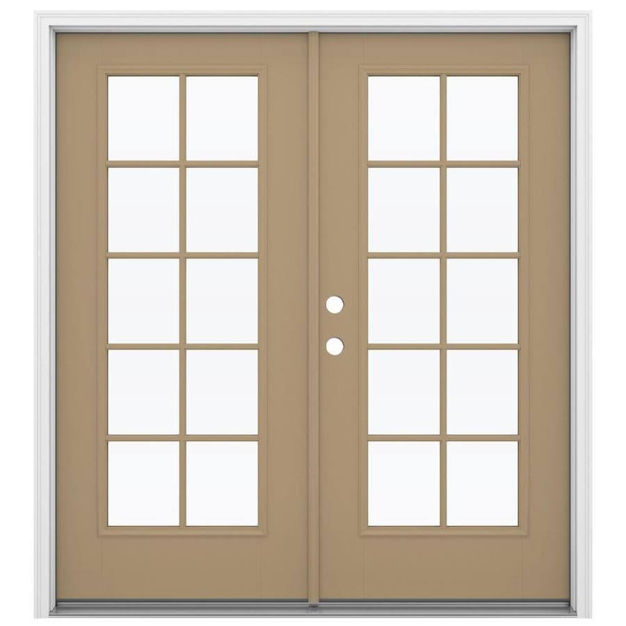 ReliaBilt 71.5-in 10-Lite Glass Warm Wheat Fiberglass French Inswing Patio Door