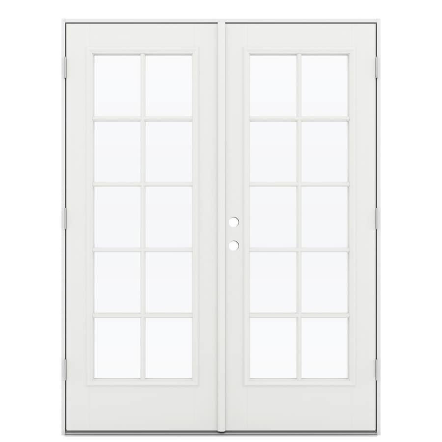 ReliaBilt 59.5-in x 78.625-in Left-Hand Outswing White Fiberglass French Patio Door