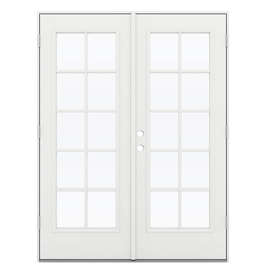 ReliaBilt 59.5-in 10-Lite Glass Arctic White Fiberglass French Outswing Patio Door