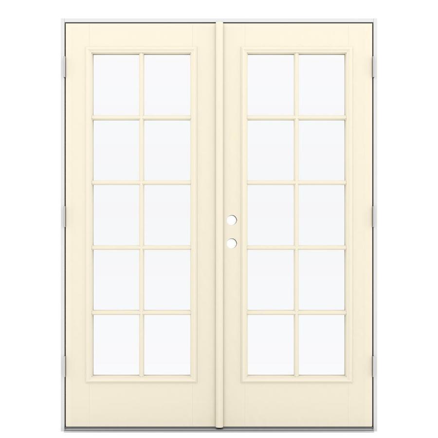 ReliaBilt 59.5-in 10-Lite Glass Bisque Fiberglass French Outswing Patio Door