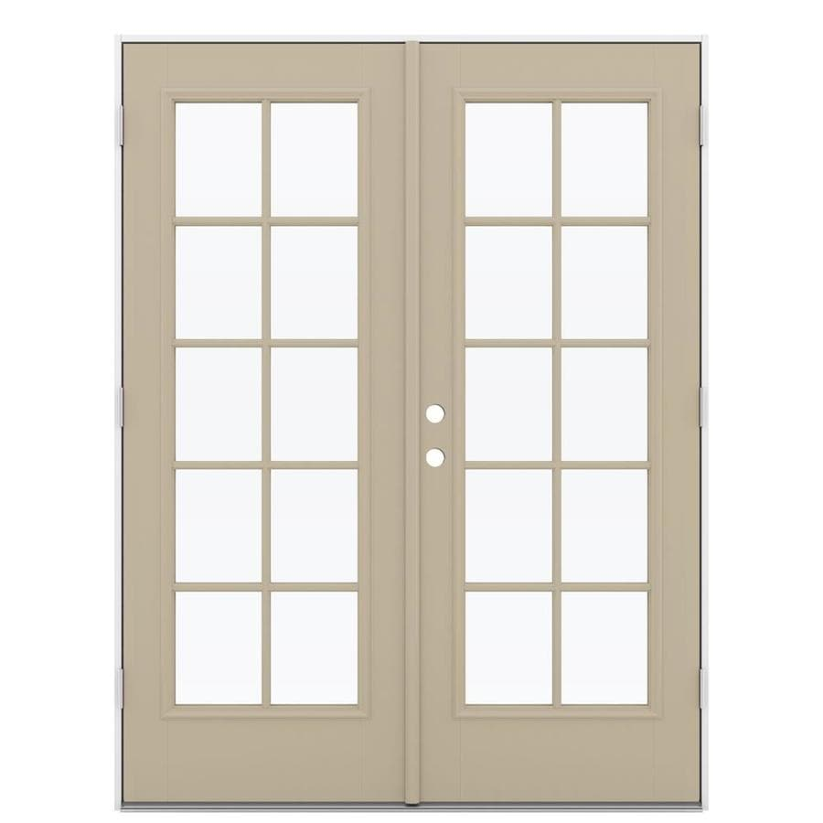 ReliaBilt 59.5-in 10-Lite Glass Sandy Shore Fiberglass French Outswing Patio Door