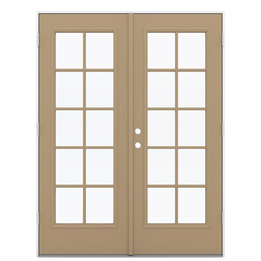 ReliaBilt 59.5-in 10-Lite Glass Warm Wheat Fiberglass French Outswing Patio Door