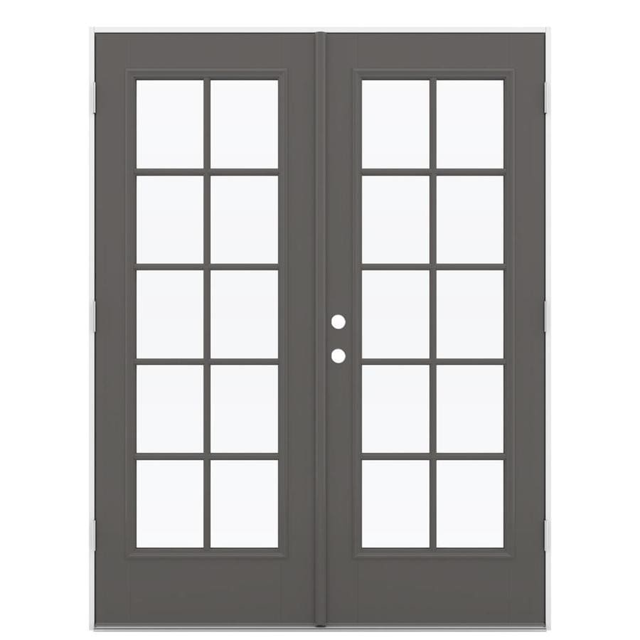 ReliaBilt 59.5-in x 79.5-in Simulated Divided Light Left-Hand Outswing Gray Fiberglass French Patio Door