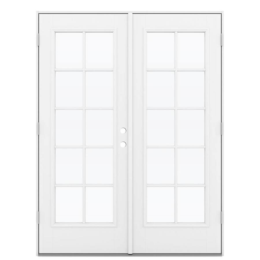 ReliaBilt 59.5-in 10-Lite Glass Primed Fiberglass French Outswing Patio Door