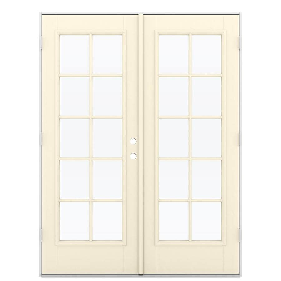 ReliaBilt 59.5-in 10-Lite Glass Bisque Fiberglass French Outswing Patio Door