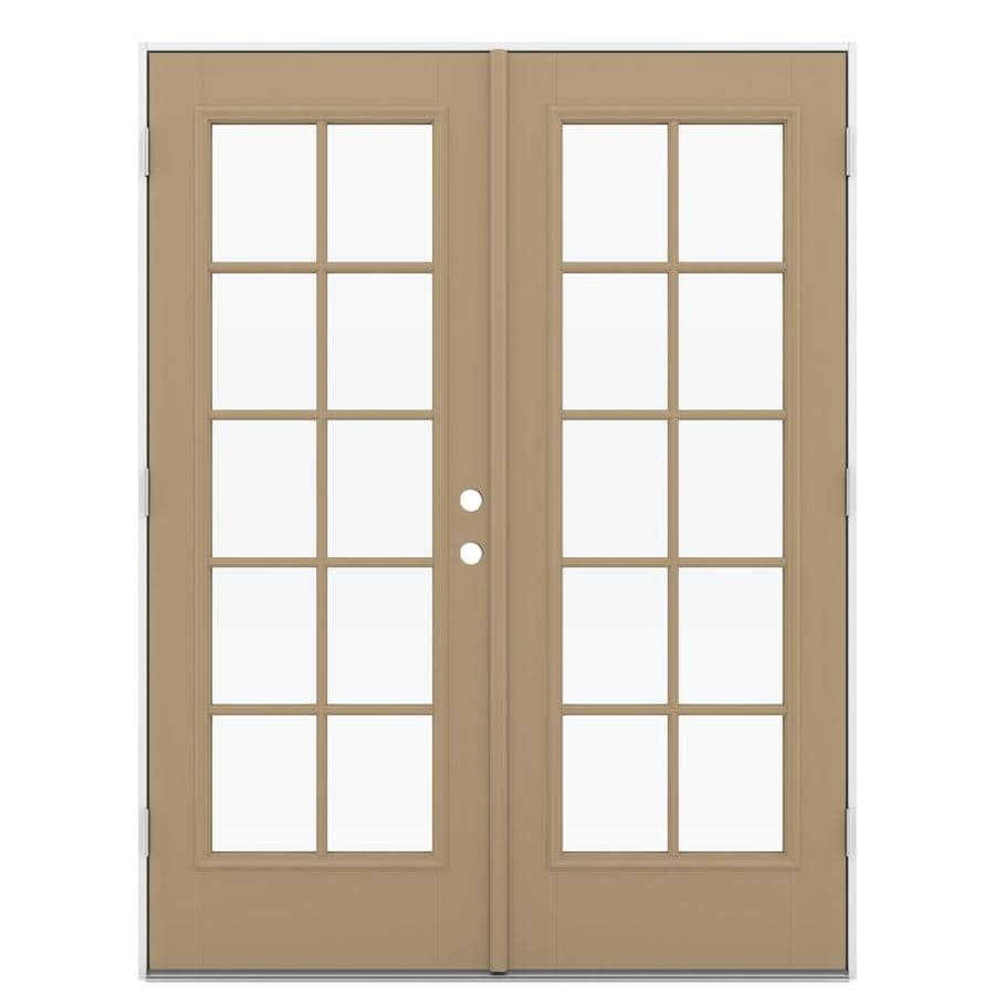 ReliaBilt 59.5-in x 79.5-in Simulated Divided Light Right-Hand Outswing Brown Fiberglass French Patio Door