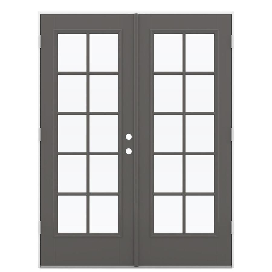 ReliaBilt 59.5-in 10-Lite Glass Timber Gray Fiberglass French Outswing Patio Door
