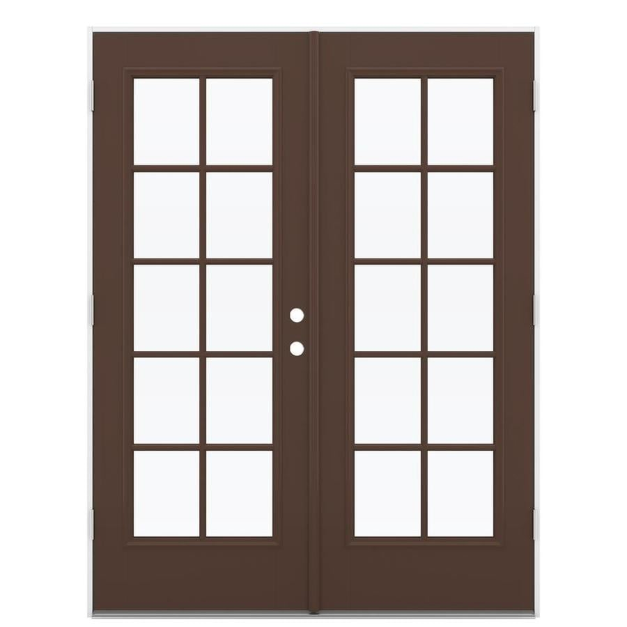 ReliaBilt 59.5-in 10-Lite Glass Chococate Fiberglass French Outswing Patio Door