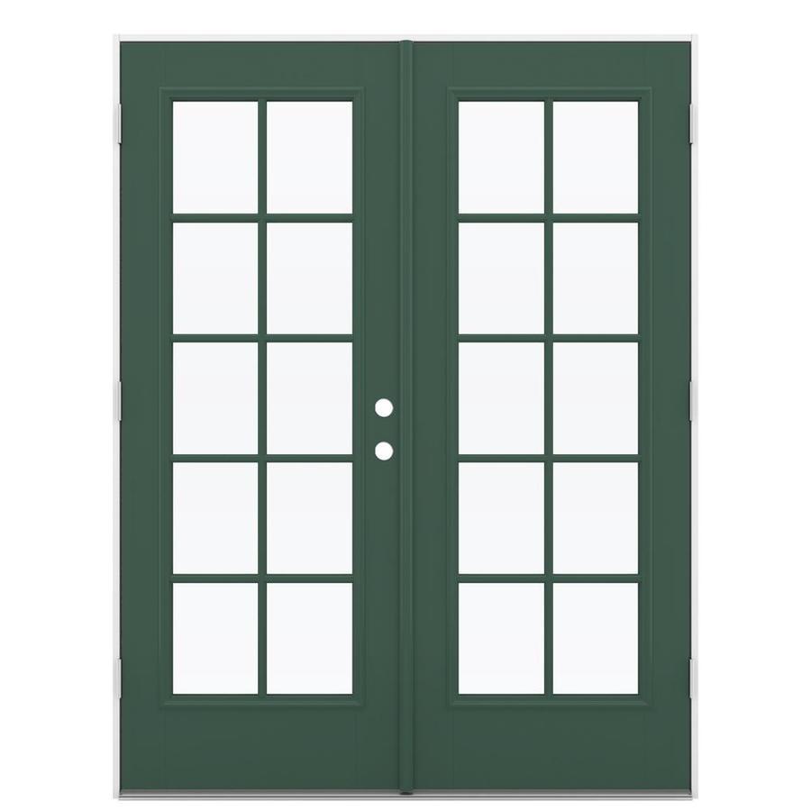 ReliaBilt 59.5-in 10-Lite Glass Evergreen Fiberglass French Outswing Patio Door