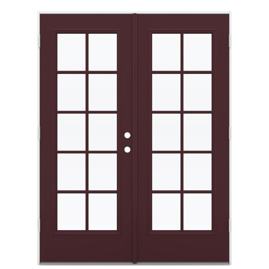 ReliaBilt 59.5-in 10-Lite Glass Currant Fiberglass French Outswing Patio Door