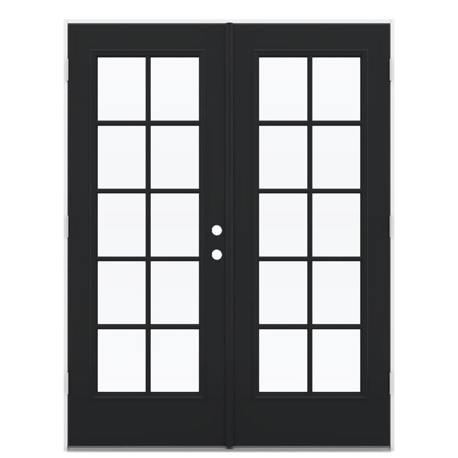 ReliaBilt 59.5-in 10-Lite Glass Peppercorn Fiberglass French Outswing Patio Door