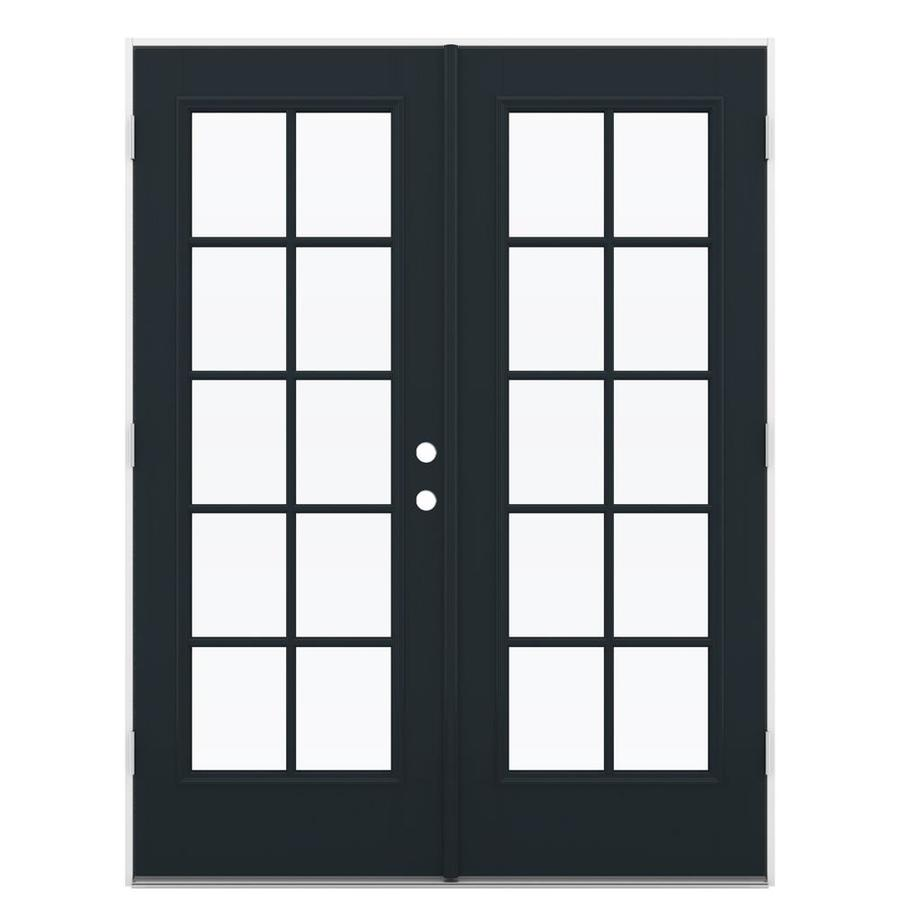 ReliaBilt 59.5-in 10-Lite Glass Eclipse Fiberglass French Outswing Patio Door