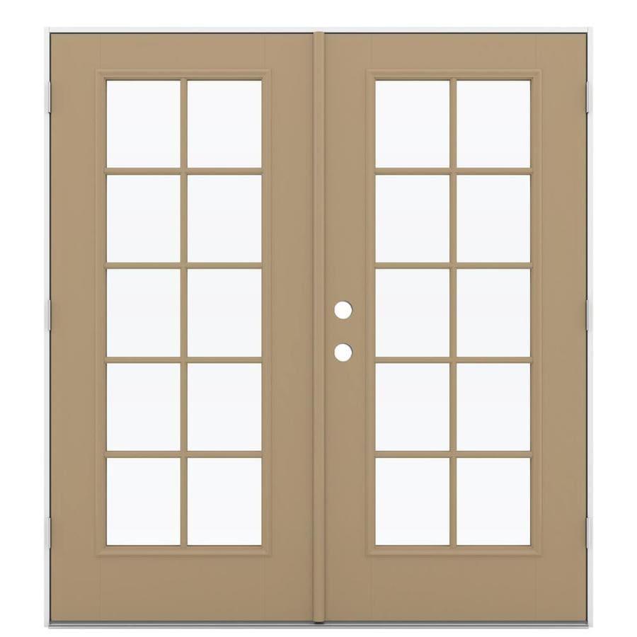 ReliaBilt 71.5-in 10-Lite Glass Warm Wheat Fiberglass French Outswing Patio Door