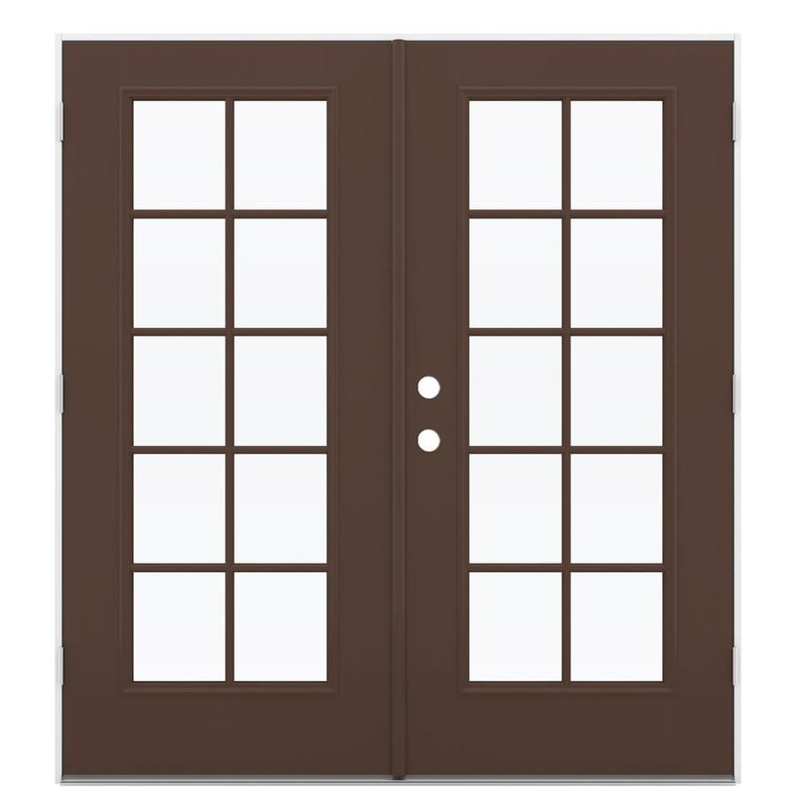 ReliaBilt 71.5-in 10-Lite Glass Chococate Fiberglass French Outswing Patio Door