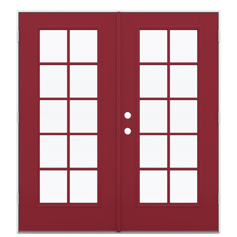 ReliaBilt 71.5-in x 79.5-in Simulated Divided Light Left-Hand Outswing Red Fiberglass French Patio Door
