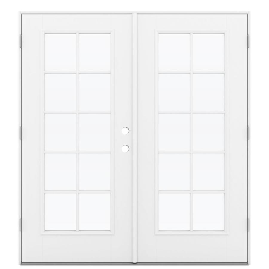 Shop reliabilt 71 5 in 10 lite glass primed fiberglass for French patio doors outswing