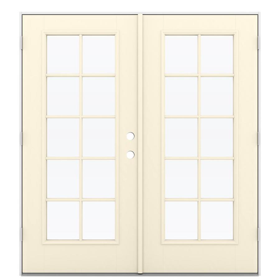 ReliaBilt 71.5-in 10-Lite Glass Bisque Fiberglass French Outswing Patio Door