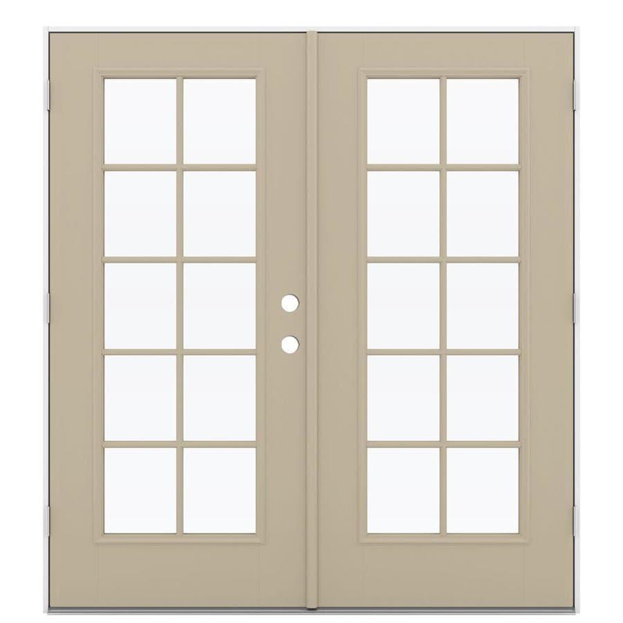 ReliaBilt 71.5-in 10-Lite Glass Sandy Shore Fiberglass French Outswing Patio Door
