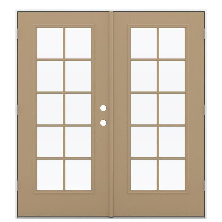 ReliaBilt 71.5-in x 79.5-in Simulated Divided Light Right-Hand Outswing Brown Fiberglass French Patio Door