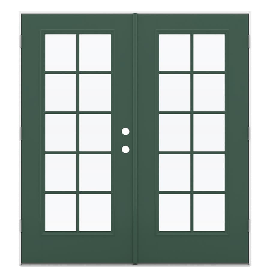 ReliaBilt 71.5-in x 79.5-in Simulated Divided Light Right-Hand Outswing Green Fiberglass French Patio Door