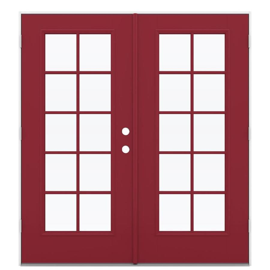 ReliaBilt 71.5-in 10-Lite Glass Roma Red Fiberglass French Outswing Patio Door