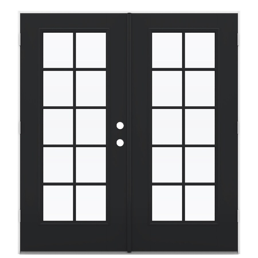 ReliaBilt 71.5-in 10-Lite Glass Peppercorn Fiberglass French Outswing Patio Door