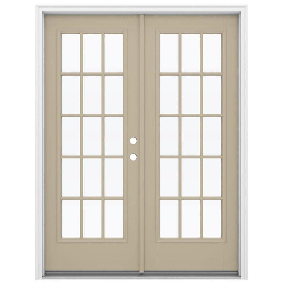 ReliaBilt 59.5-in 15-Lite Glass Sandy Shore Fiberglass French Inswing Patio Door