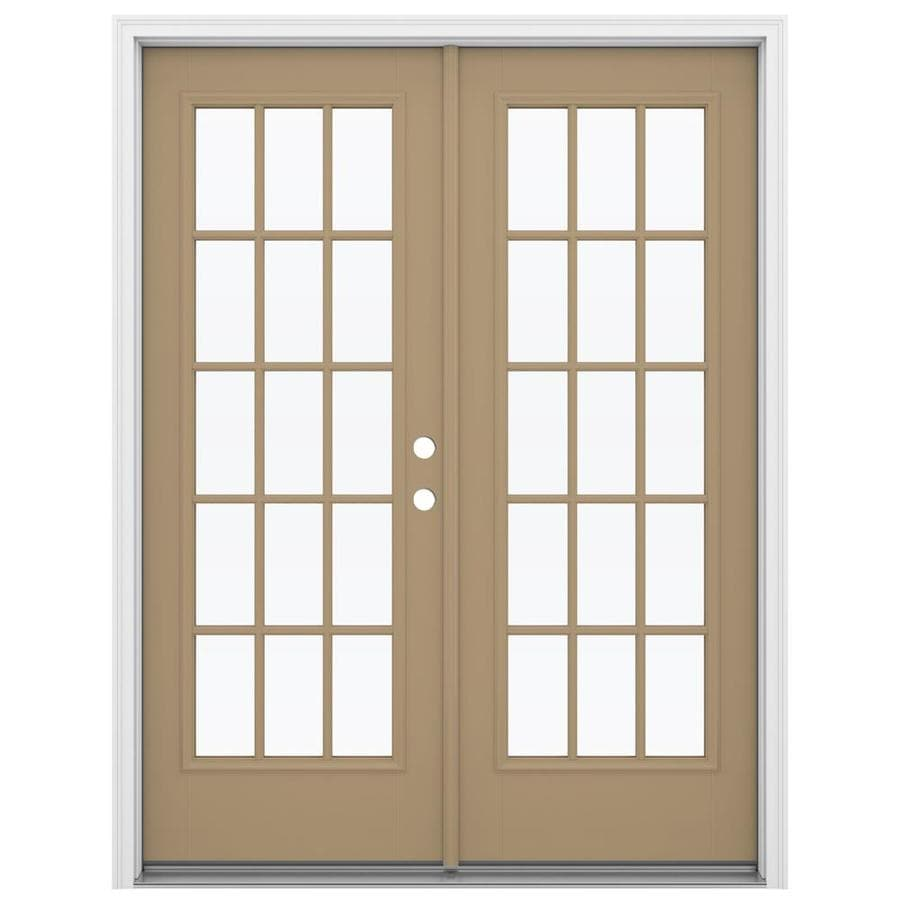 ReliaBilt 59.5-in 15-Lite Glass Warm Wheat Fiberglass French Inswing Patio Door