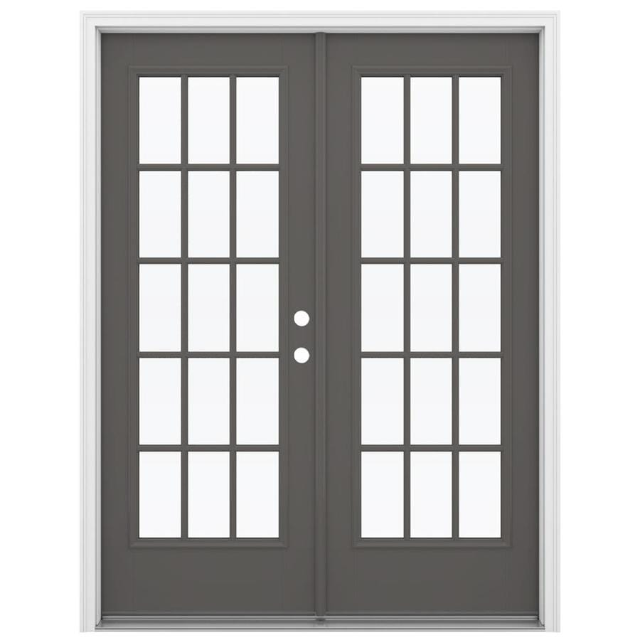 ReliaBilt 59.5-in 15-Lite Glass Timber Gray Fiberglass French Inswing Patio Door