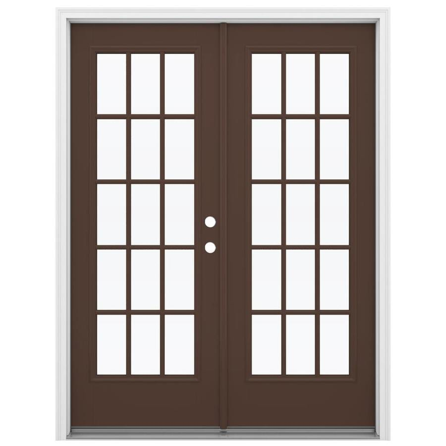 Shop reliabilt 59 5 in 15 lite glass chococate fiberglass for Fiberglass patio doors