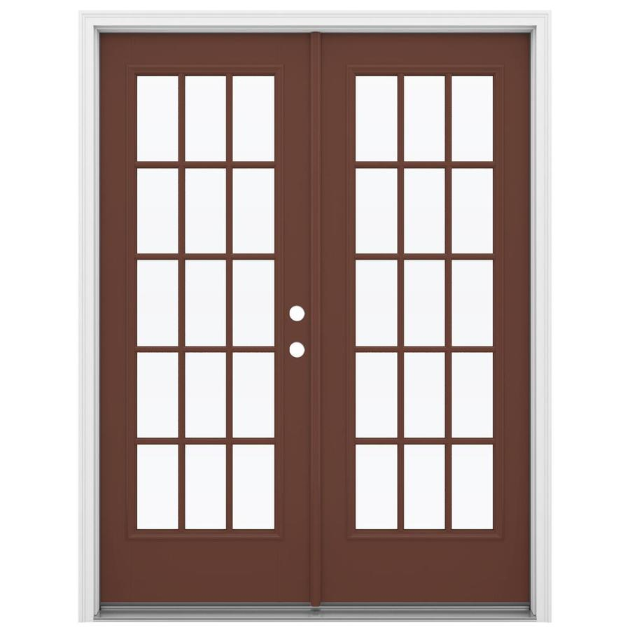 ReliaBilt 59.5-in 15-Lite Glass Foxtail Fiberglass French Inswing Patio Door