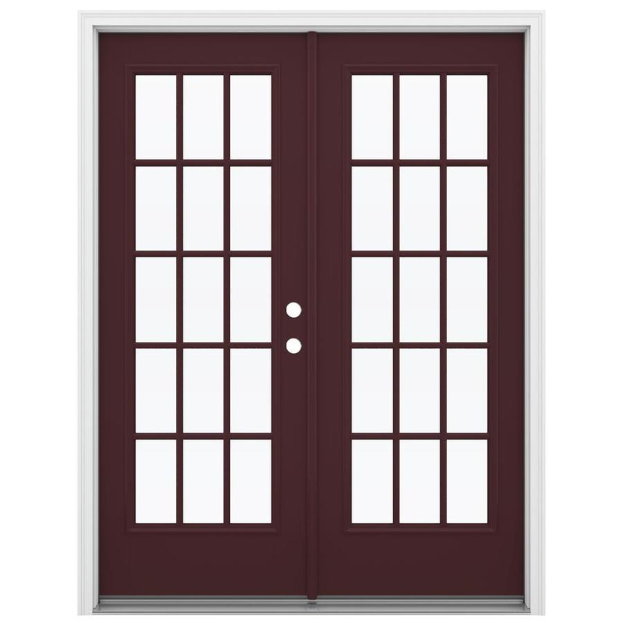 ReliaBilt 59.5-in 15-Lite Glass Currant Fiberglass French Inswing Patio Door