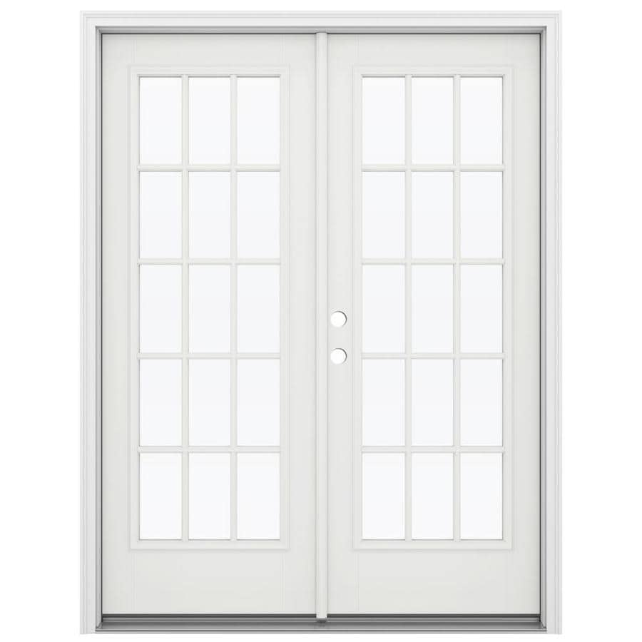 ReliaBilt 59.5-in 15-Lite Glass Arctic White Fiberglass French Inswing Patio Door