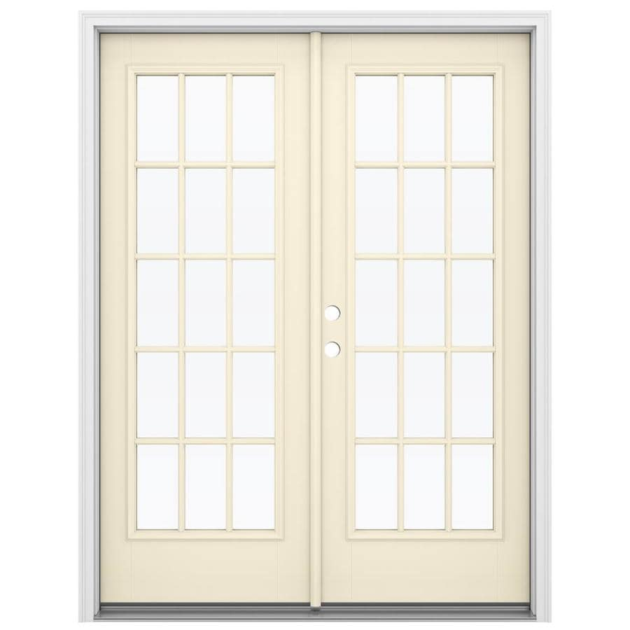 ReliaBilt 59.5-in 15-Lite Glass Bisque Fiberglass French Inswing Patio Door