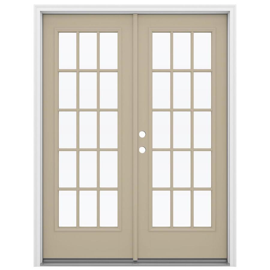 ReliaBilt 59.5-in 15-Lite Glass Sandy Shore Fiberglass French Inswing Patio Door