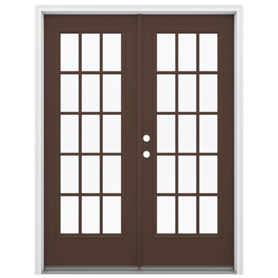 ReliaBilt 59.5-in 15-Lite Glass Chococate Fiberglass French Inswing Patio Door