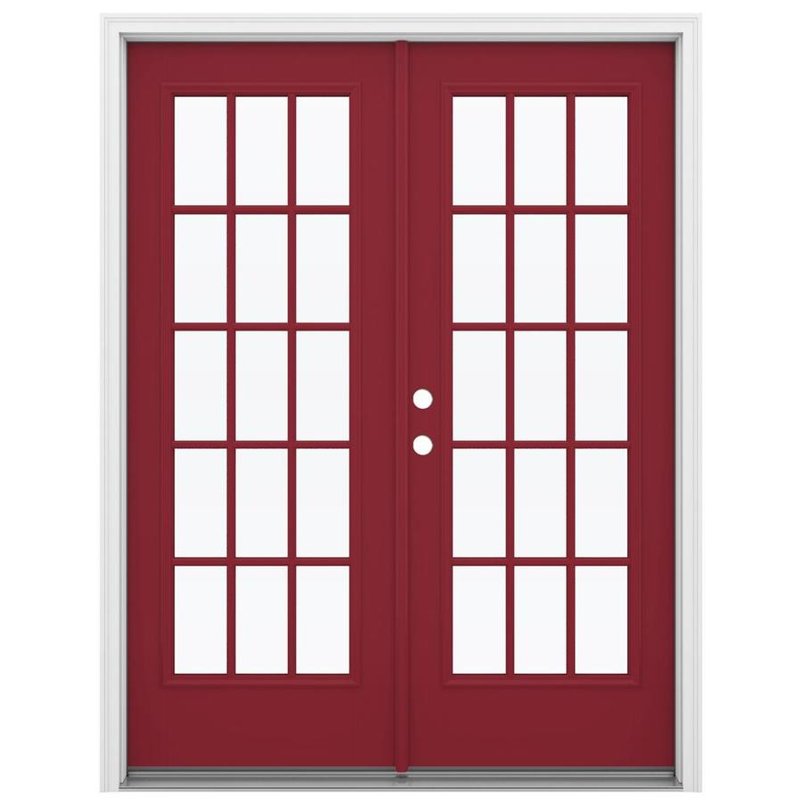 ReliaBilt 59.5-in 15-Lite Glass Roma Red Fiberglass French Inswing Patio Door