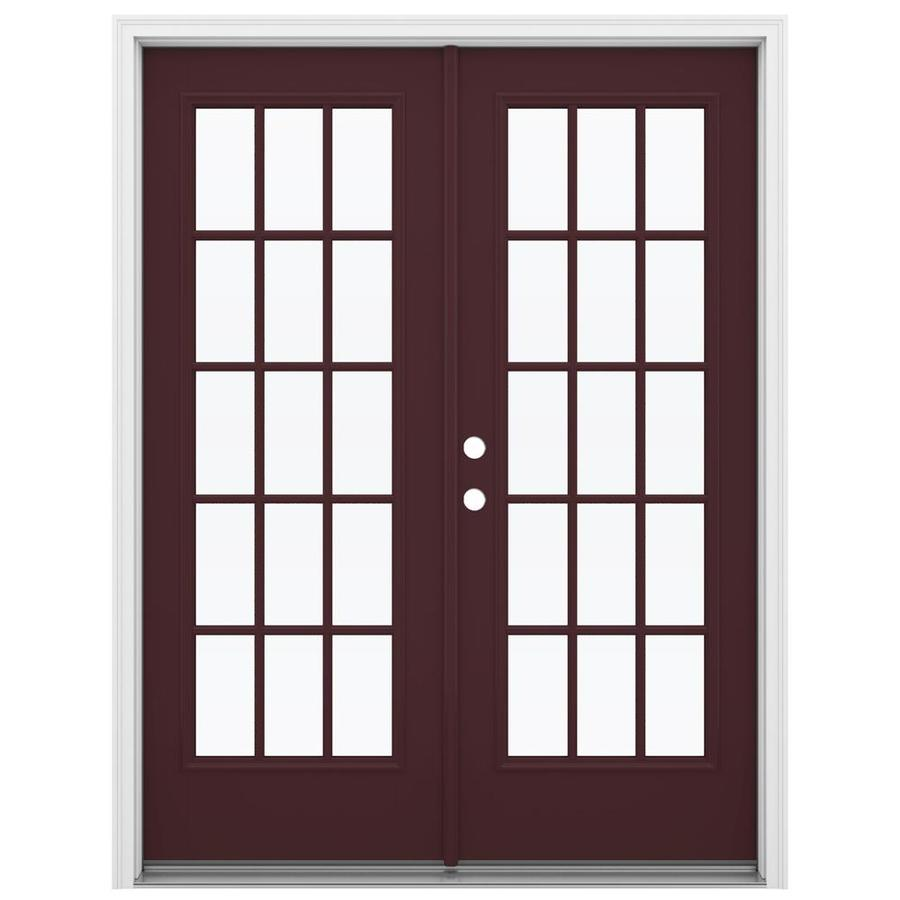 ReliaBilt 59.5-in 15-Lite Glass Currant Fiberglass French Inswing Patio Door