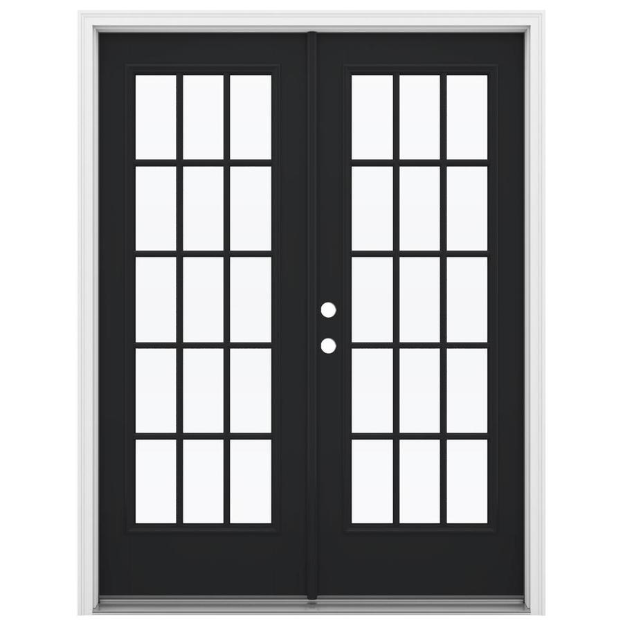 ReliaBilt 59.5-in x 79.5-in Simulated Divided Light Right-Hand Inswing Black Fiberglass French Patio Door