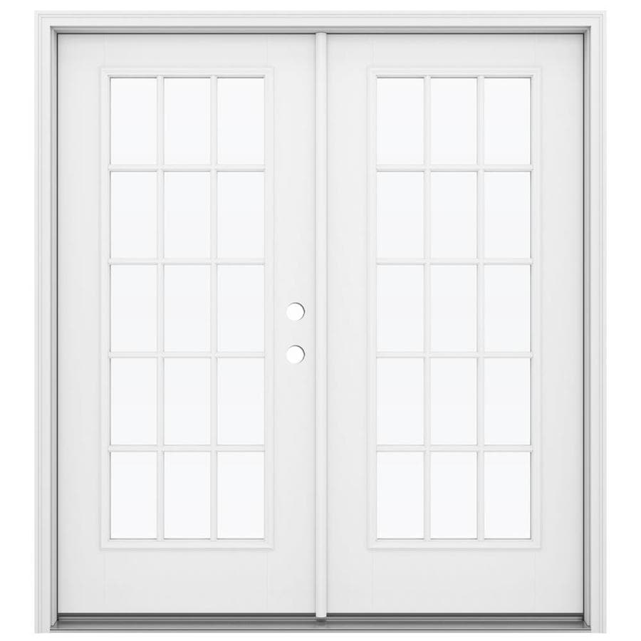 ReliaBilt 71.5-in x 79.5-in Simulated Divided Light Left-Hand Inswing White Fiberglass French Patio Door