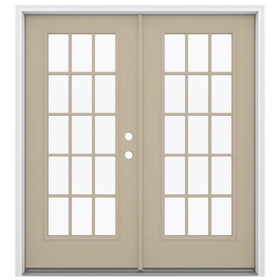 ReliaBilt 71.5-in 15-Lite Glass Sandy Shore Fiberglass French Inswing Patio Door