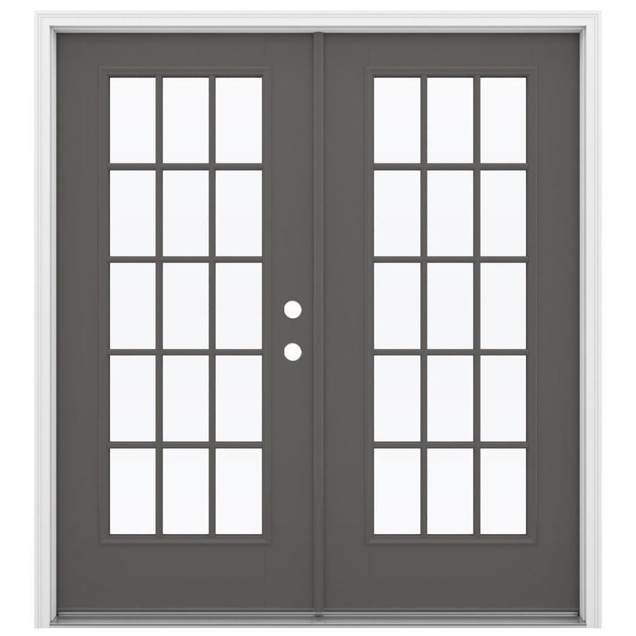 ReliaBilt 71.5-in 15-Lite Glass Timber Gray Fiberglass French Inswing Patio Door
