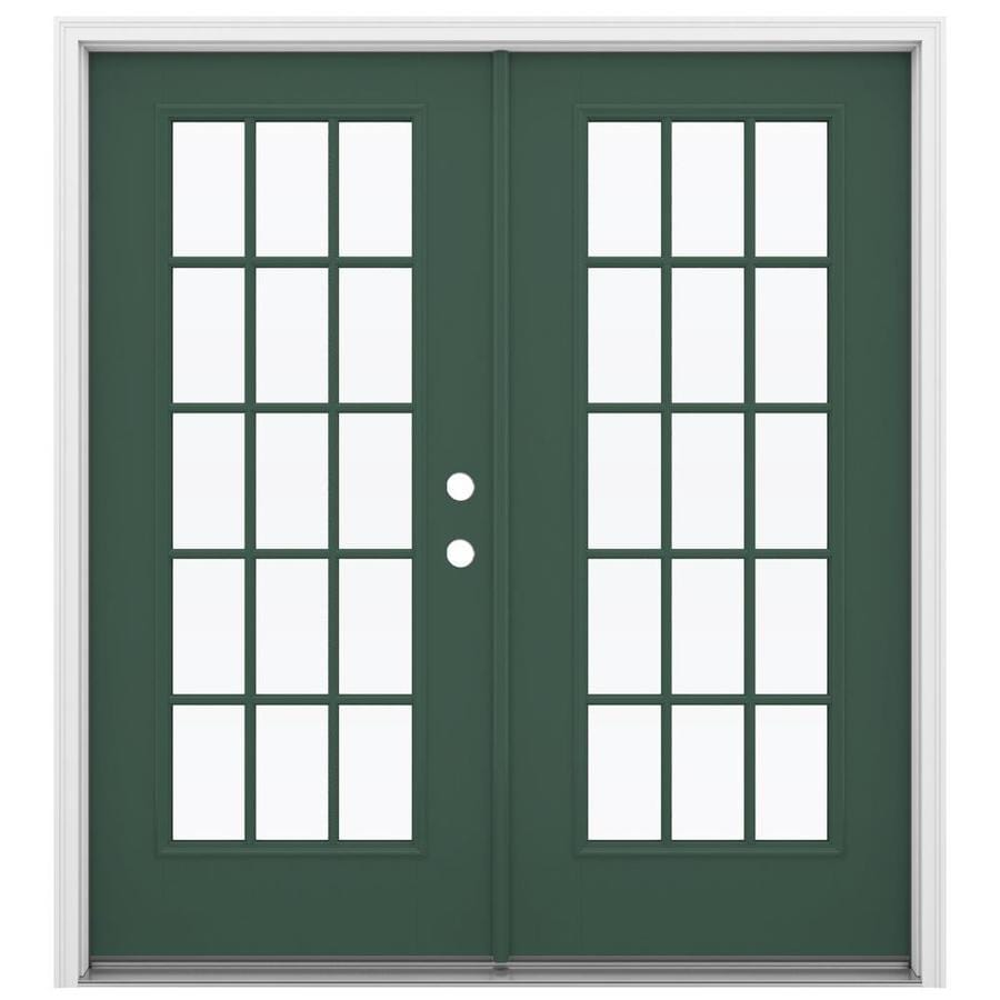 ReliaBilt 71.5-in 15-Lite Glass Evergreen Fiberglass French Inswing Patio Door