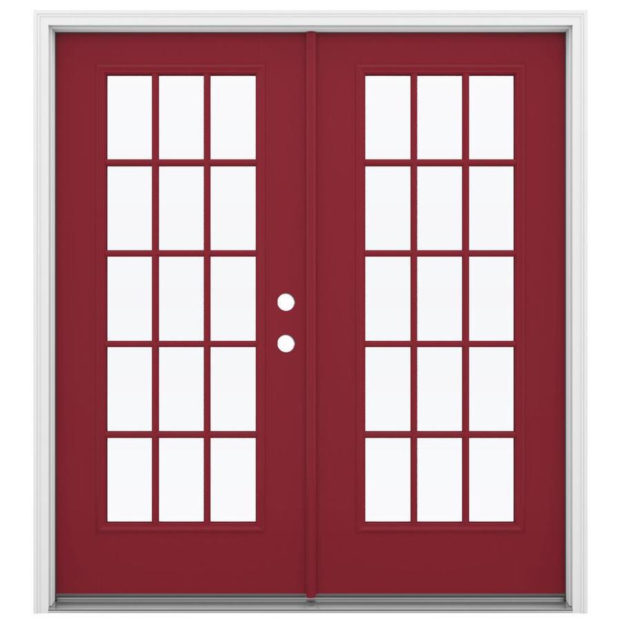 ReliaBilt 71.5-in 15-Lite Glass Roma Red Fiberglass French Inswing Patio Door