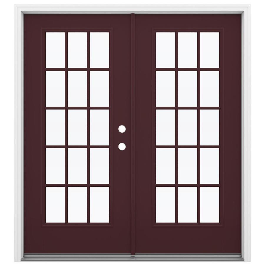 ReliaBilt 71.5-in 15-Lite Glass Currant Fiberglass French Inswing Patio Door