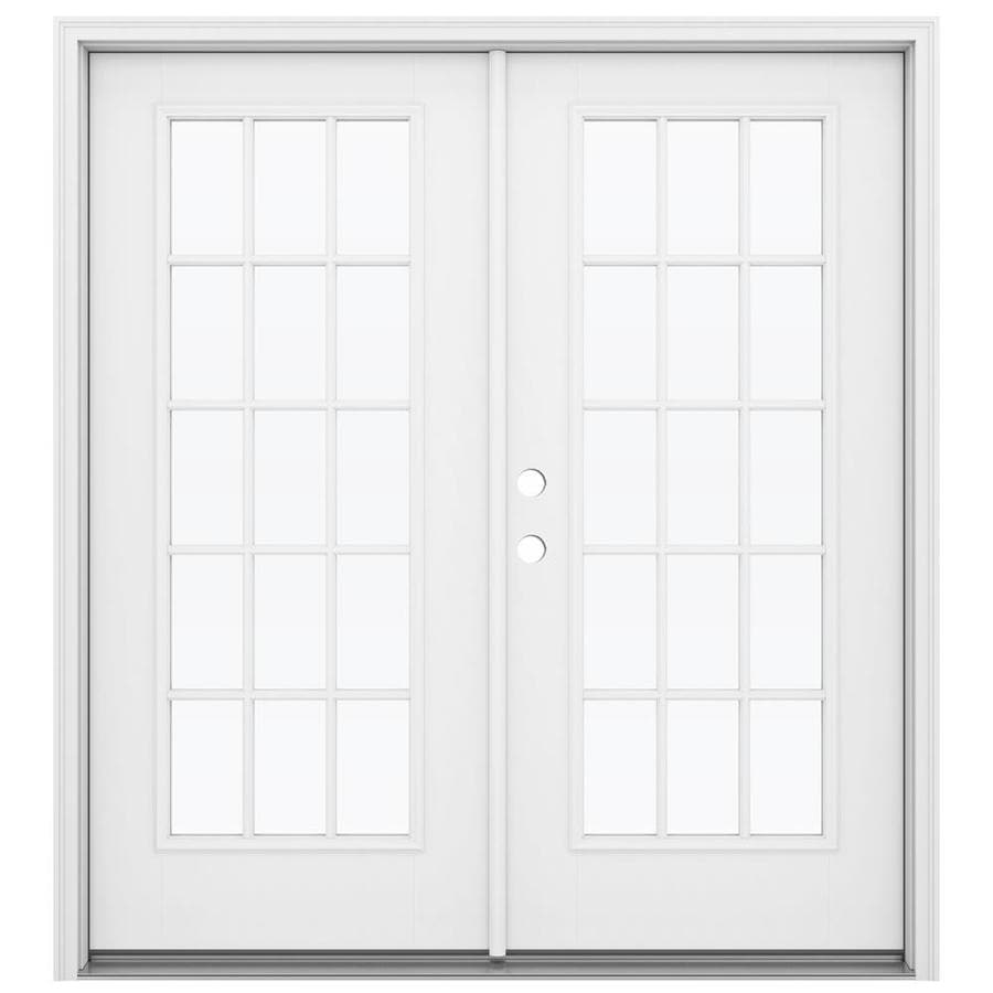 ReliaBilt 71.5-in x 79.5-in Simulated Divided Light Right-Hand Inswing White Fiberglass French Patio Door