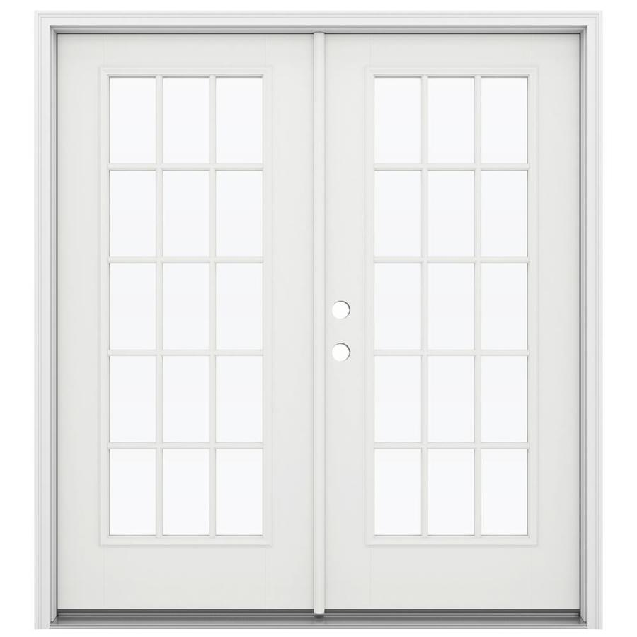 ReliaBilt 71.5-in 15-Lite Glass Arctic White Fiberglass French Inswing Patio Door